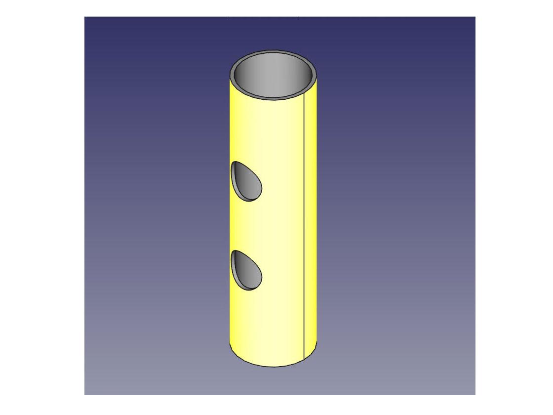 FreeCADでパイプ形状の側面に穴を開ける(ブーリアン演算)